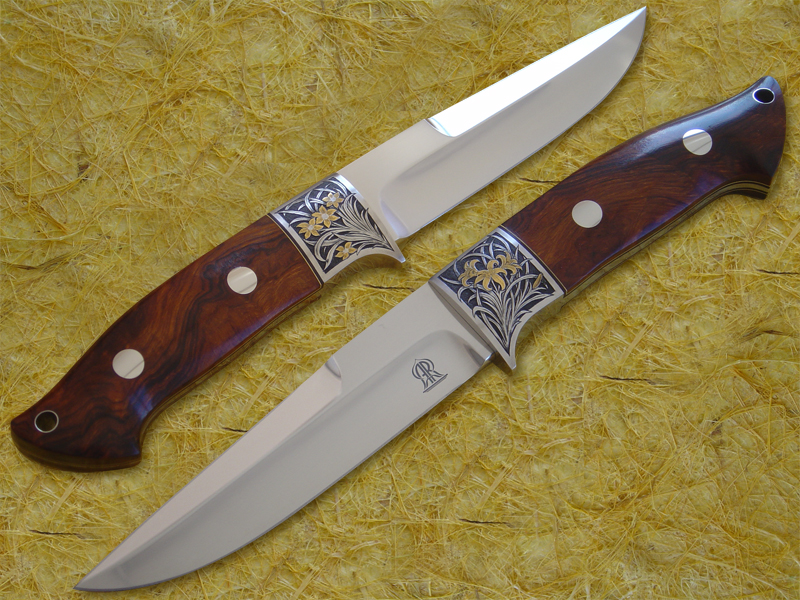 Engraved Gold Inlaid Ironwood Chute Knife