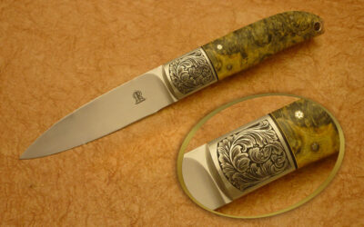Own Engraved Dyed Stabilised Maple Burl Bird Knife