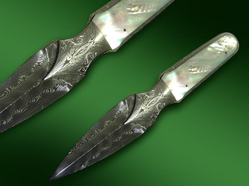 "Engraved ""Damasteel"" Mother of Pearl Boot Knife"